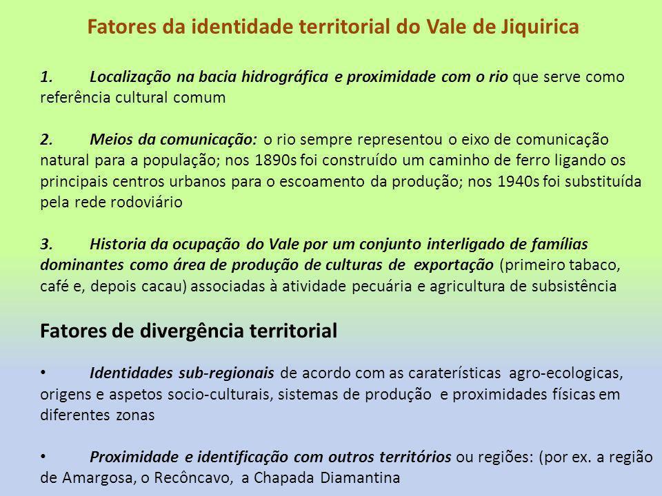 Fatores da identidade territorial do Vale de Jiquirica
