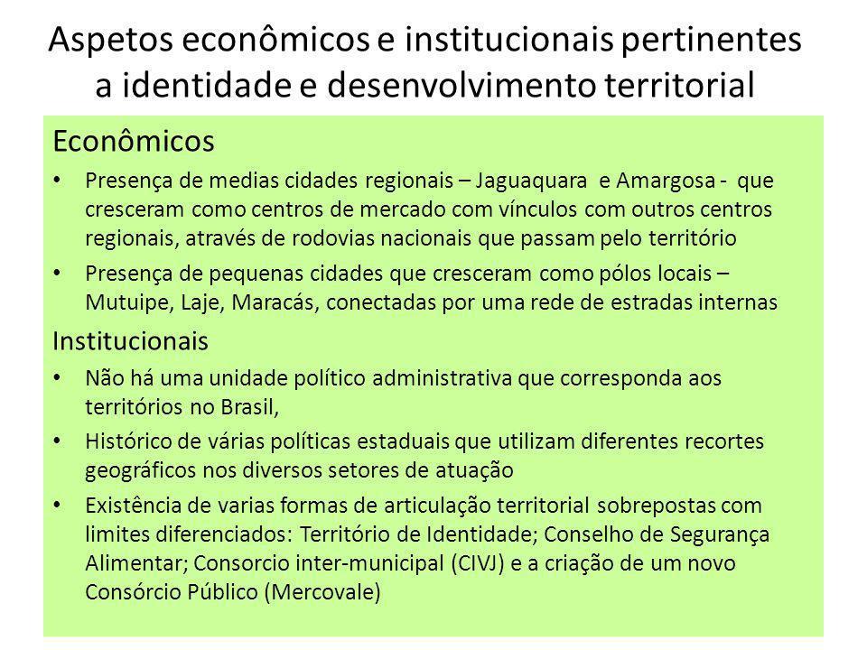 Aspetos econômicos e institucionais pertinentes a identidade e desenvolvimento territorial