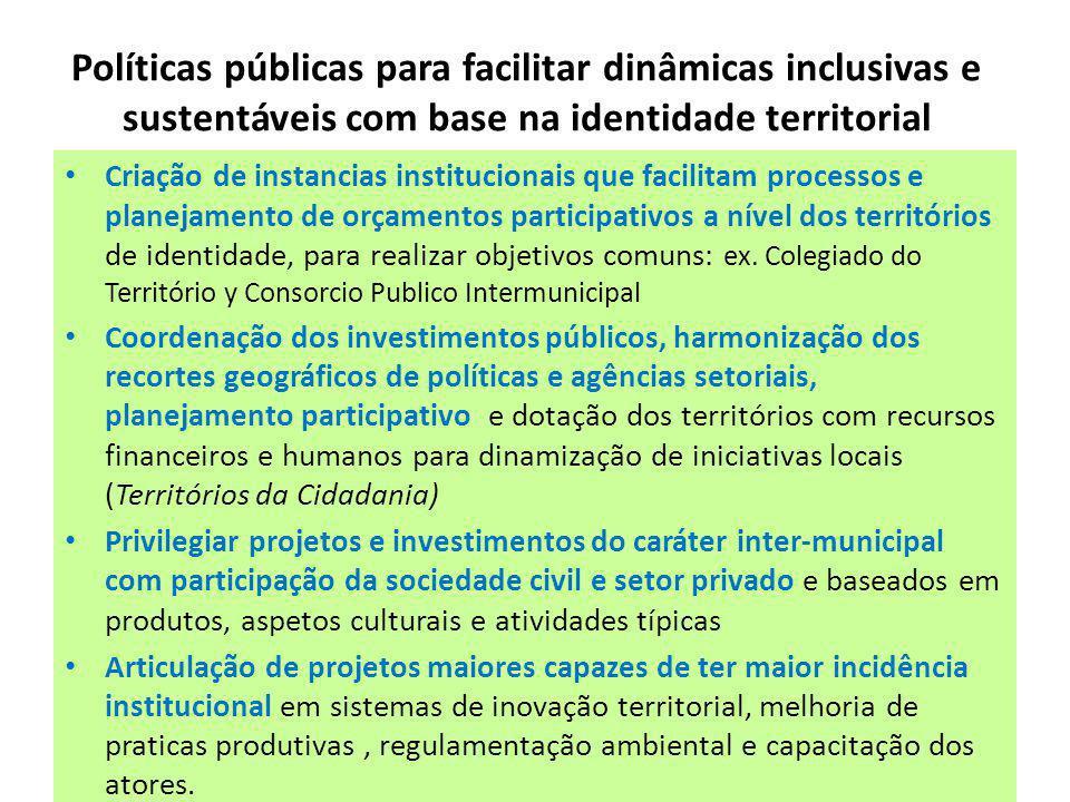 Políticas públicas para facilitar dinâmicas inclusivas e sustentáveis com base na identidade territorial