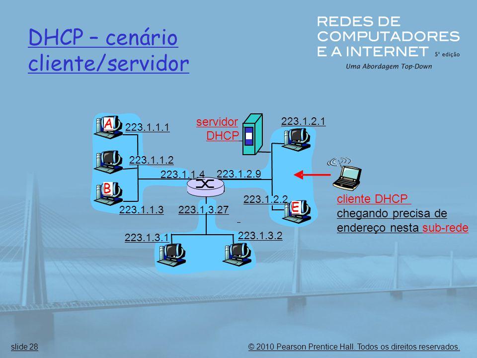 DHCP – cenário cliente/servidor