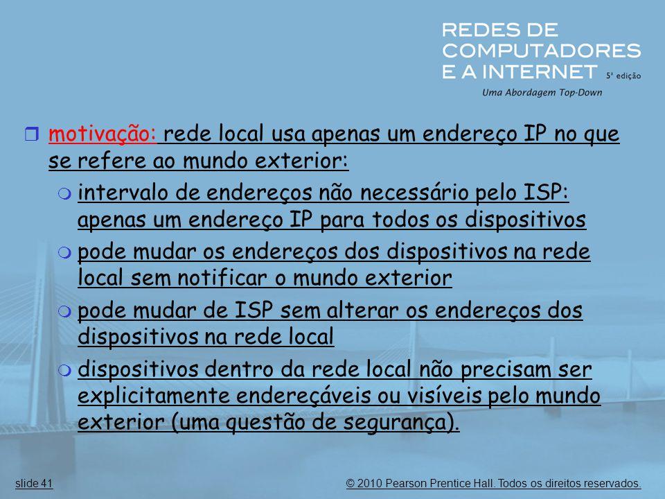 motivação: rede local usa apenas um endereço IP no que se refere ao mundo exterior: