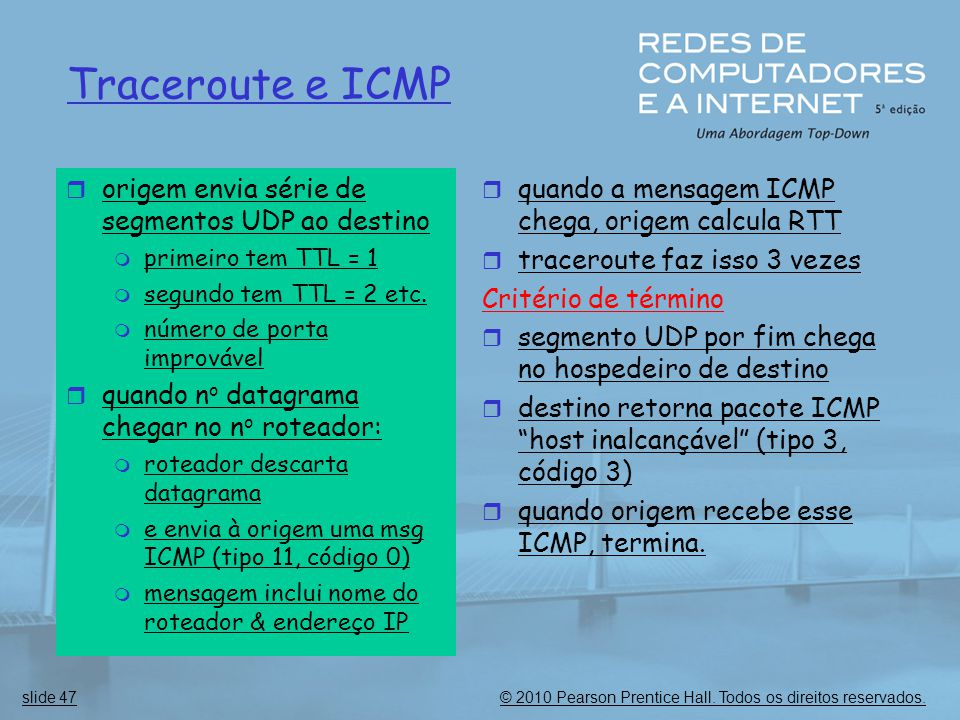 Traceroute e ICMP origem envia série de segmentos UDP ao destino