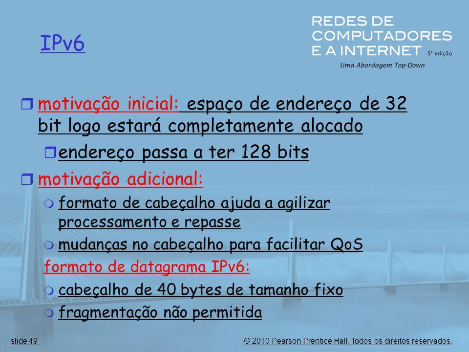 IPv6 motivação inicial: espaço de endereço de 32 bit logo estará completamente alocado. endereço passa a ter 128 bits.