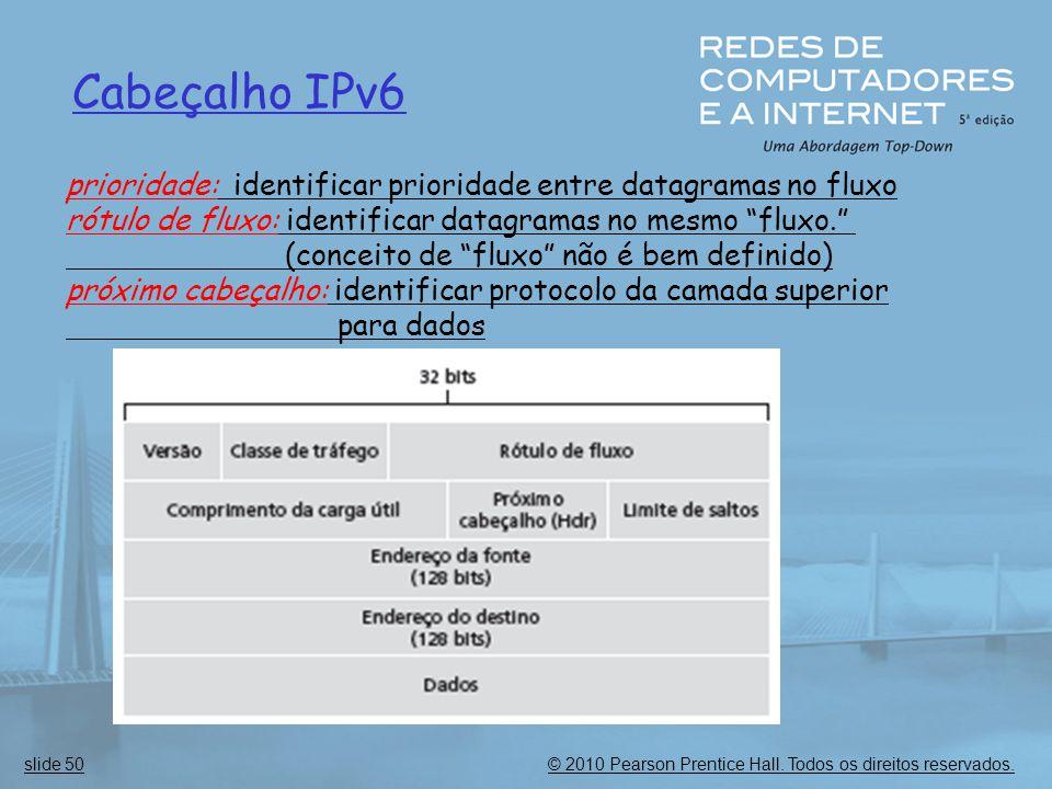 Cabeçalho IPv6 prioridade: identificar prioridade entre datagramas no fluxo. rótulo de fluxo: identificar datagramas no mesmo fluxo.
