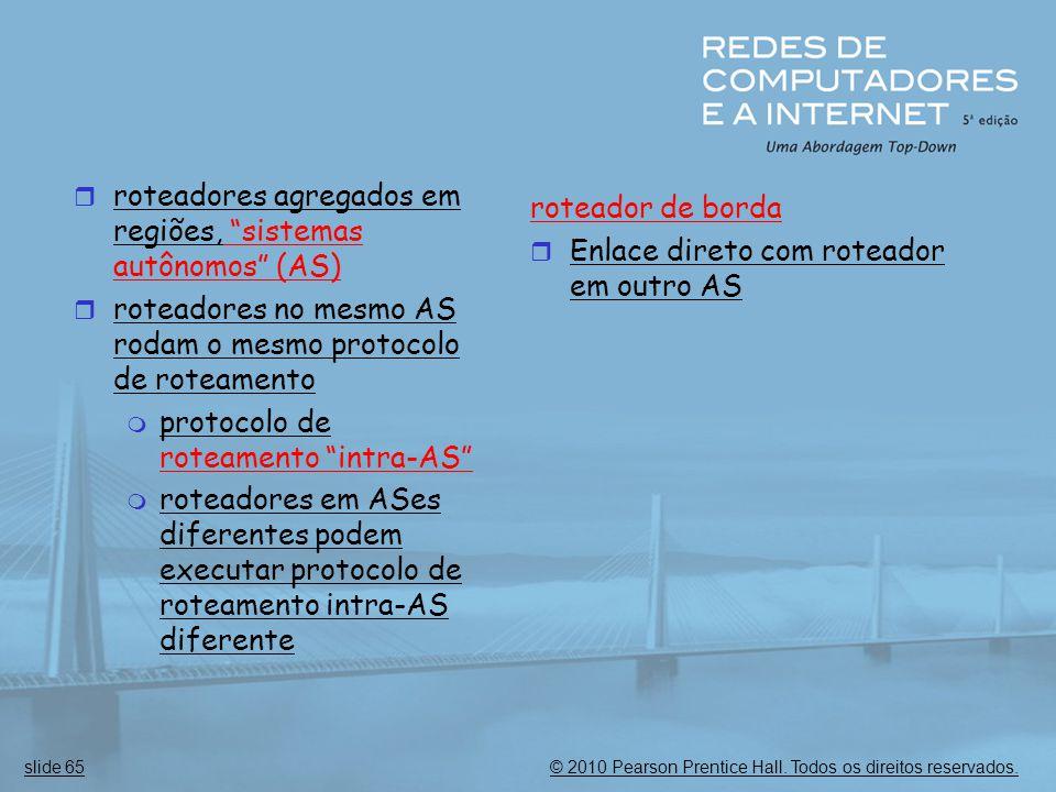 roteadores agregados em regiões, sistemas autônomos (AS)