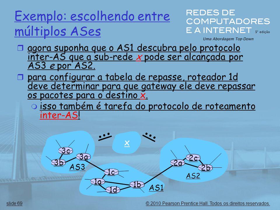 … … Exemplo: escolhendo entre múltiplos ASes