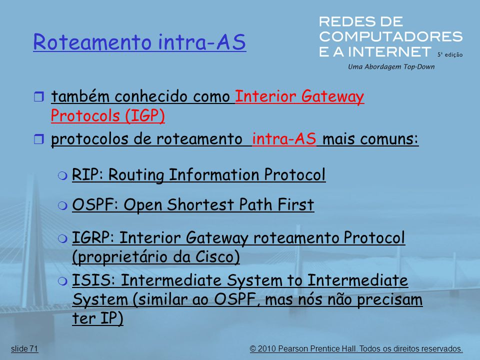 Roteamento intra-AS também conhecido como Interior Gateway Protocols (IGP) protocolos de roteamento intra-AS mais comuns: