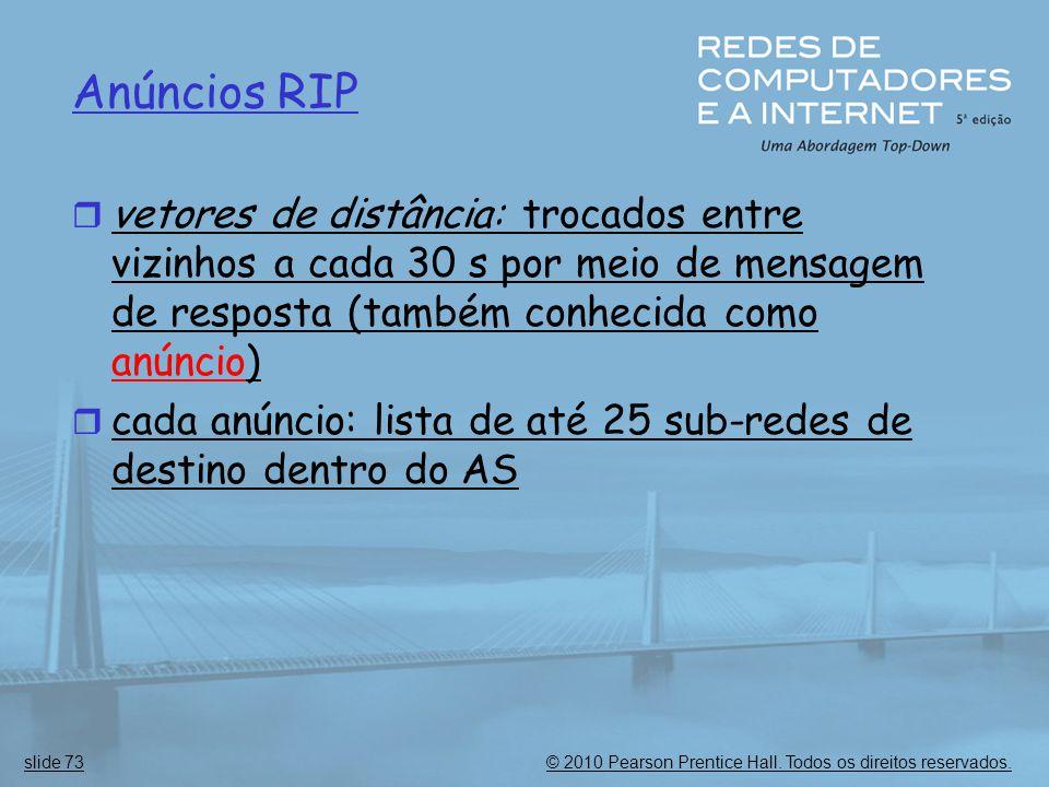 Anúncios RIP vetores de distância: trocados entre vizinhos a cada 30 s por meio de mensagem de resposta (também conhecida como anúncio)