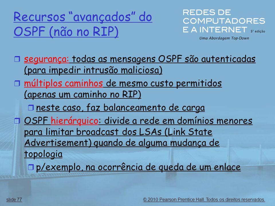 Recursos avançados do OSPF (não no RIP)