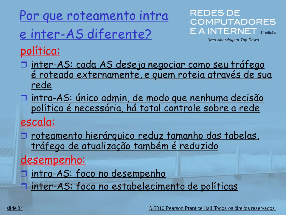Por que roteamento intra e inter-AS diferente