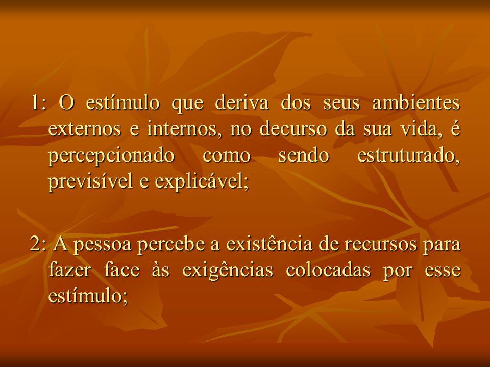 1: O estímulo que deriva dos seus ambientes externos e internos, no decurso da sua vida, é percepcionado como sendo estruturado, previsível e explicável;