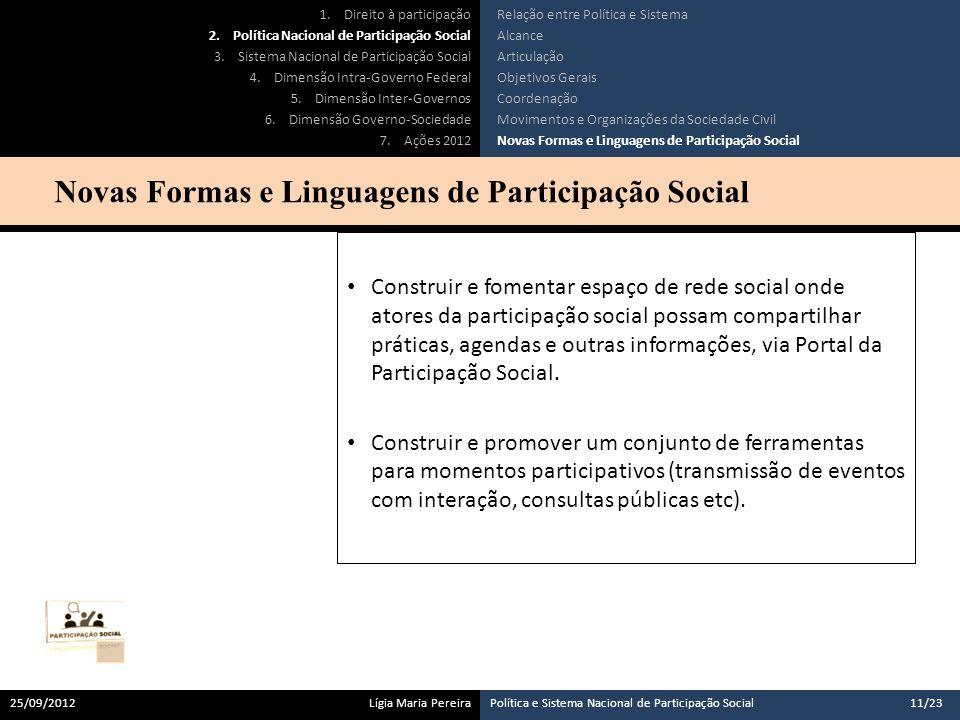 Novas Formas e Linguagens de Participação Social