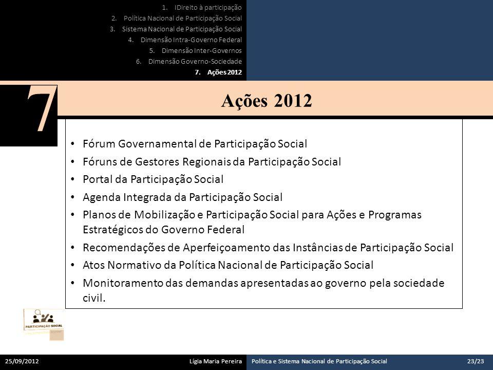 7 Ações 2012 Fórum Governamental de Participação Social