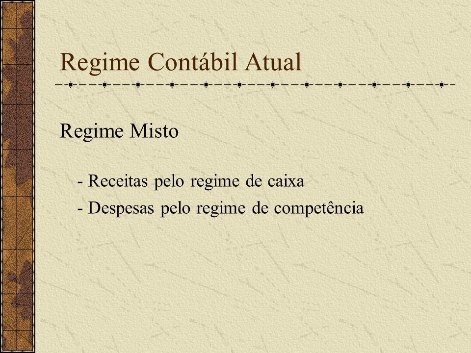 Regime Contábil Atual Regime Misto - Receitas pelo regime de caixa