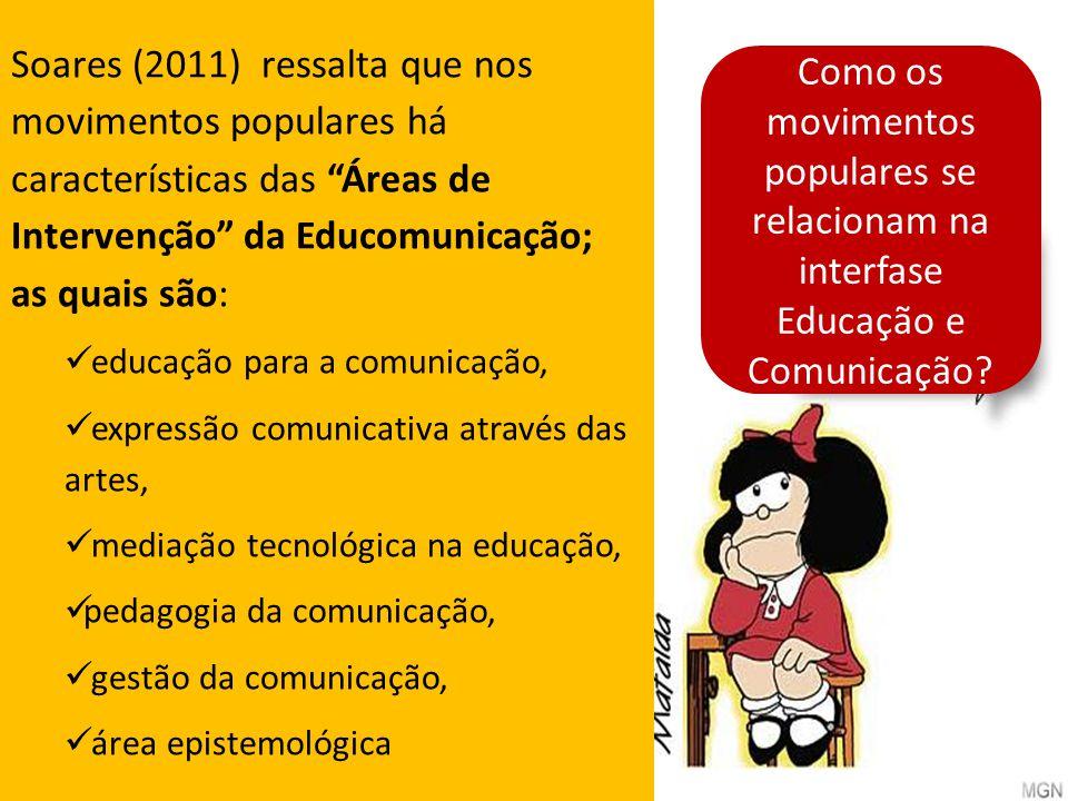 Soares (2011) ressalta que nos movimentos populares há características das Áreas de Intervenção da Educomunicação; as quais são: