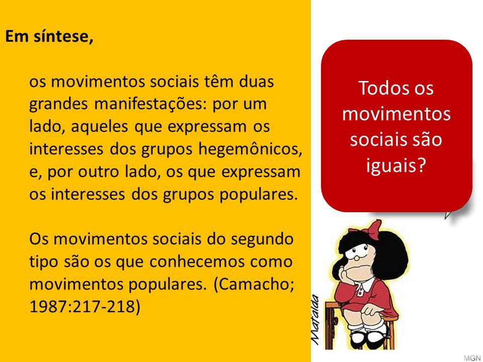 Todos os movimentos sociais são iguais