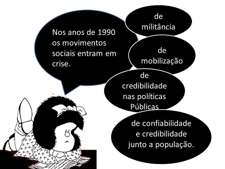 Nos anos de 1990 os movimentos sociais entram em crise.