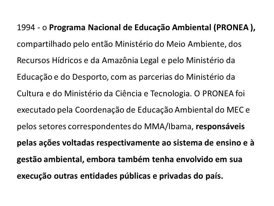 1994 - o Programa Nacional de Educação Ambiental (PRONEA ), compartilhado pelo então Ministério do Meio Ambiente, dos Recursos Hídricos e da Amazônia Legal e pelo Ministério da Educação e do Desporto, com as parcerias do Ministério da Cultura e do Ministério da Ciência e Tecnologia.