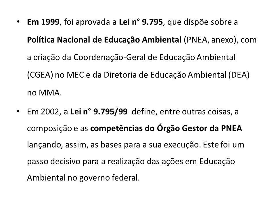 Em 1999, foi aprovada a Lei n° 9.795, que dispõe sobre a Política Nacional de Educação Ambiental (PNEA, anexo), com a criação da Coordenação-Geral de Educação Ambiental (CGEA) no MEC e da Diretoria de Educação Ambiental (DEA) no MMA.