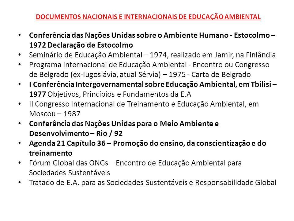 DOCUMENTOS NACIONAIS E INTERNACIONAIS DE EDUCAÇÃO AMBIENTAL