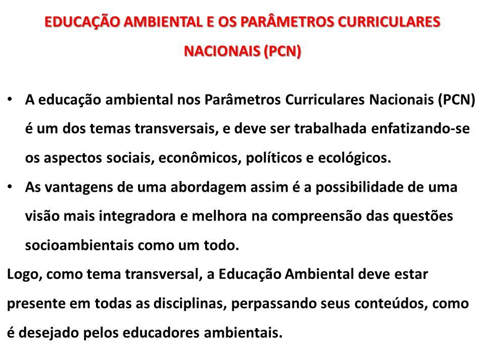 EDUCAÇÃO AMBIENTAL E OS PARÂMETROS CURRICULARES NACIONAIS (PCN)