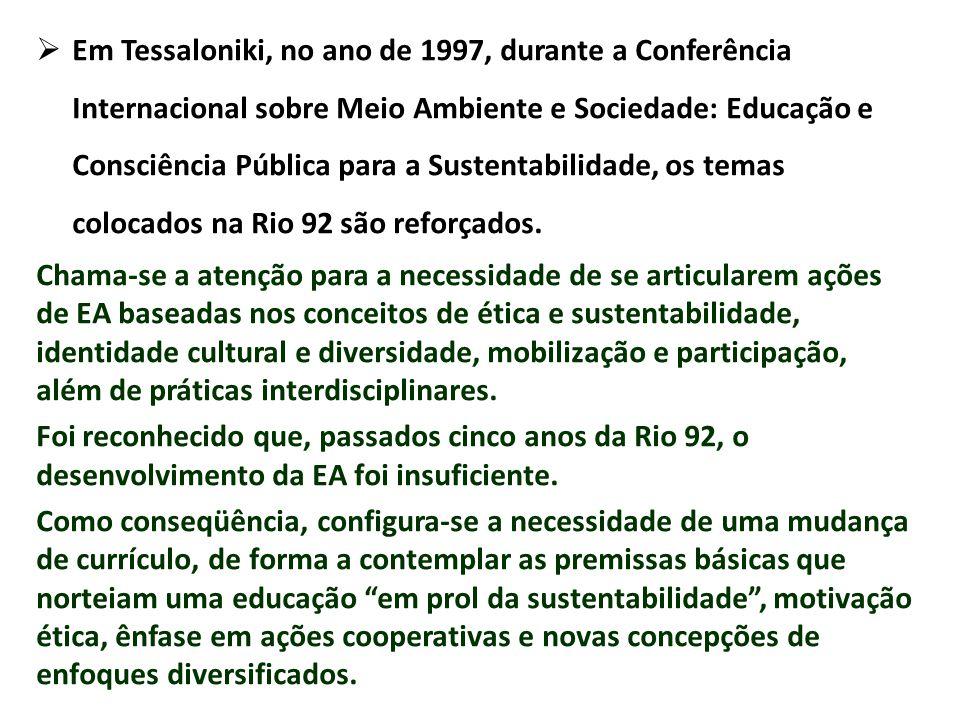 Em Tessaloniki, no ano de 1997, durante a Conferência Internacional sobre Meio Ambiente e Sociedade: Educação e Consciência Pública para a Sustentabilidade, os temas colocados na Rio 92 são reforçados.