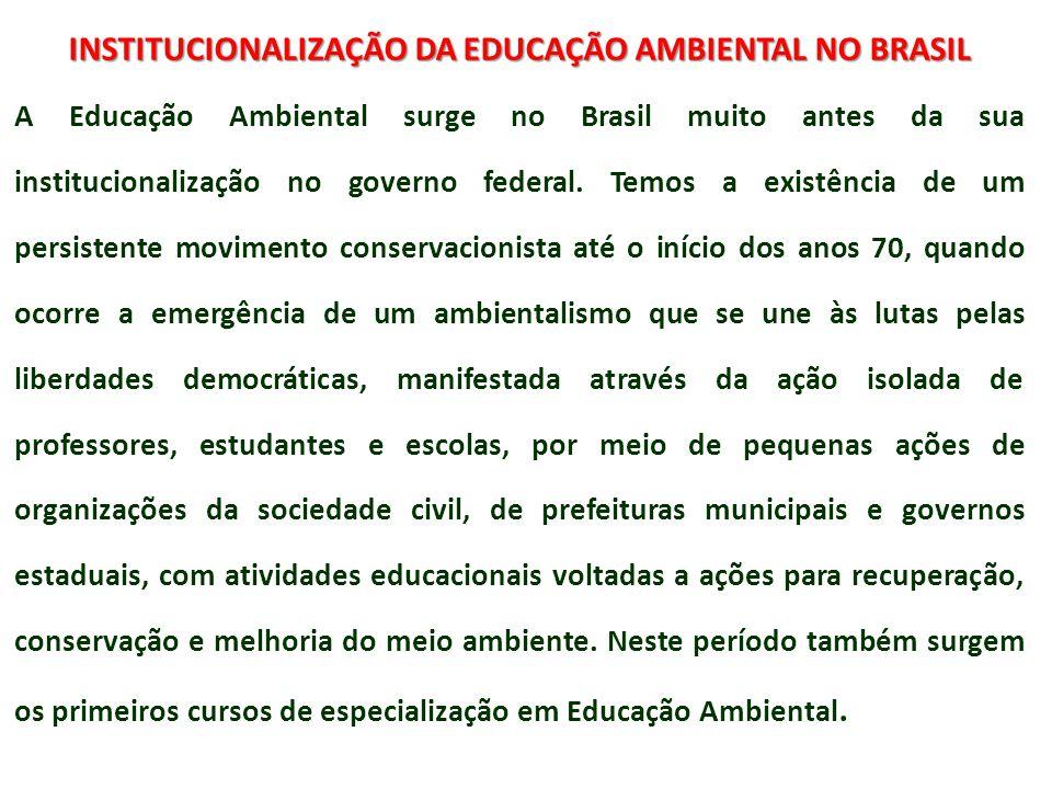 INSTITUCIONALIZAÇÃO DA EDUCAÇÃO AMBIENTAL NO BRASIL