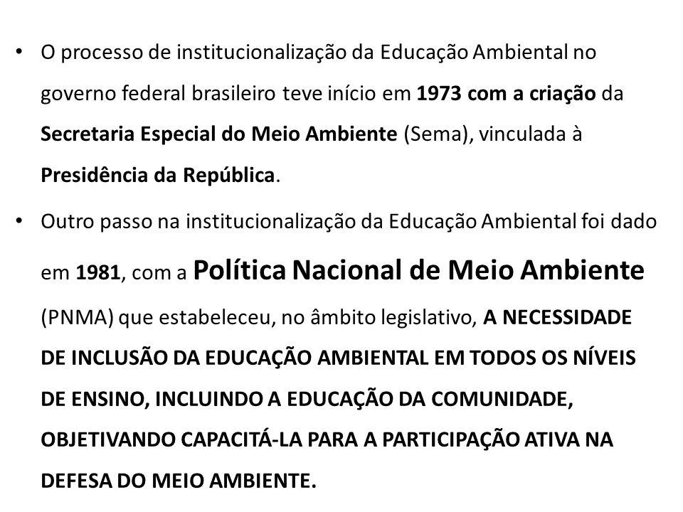 O processo de institucionalização da Educação Ambiental no governo federal brasileiro teve início em 1973 com a criação da Secretaria Especial do Meio Ambiente (Sema), vinculada à Presidência da República.