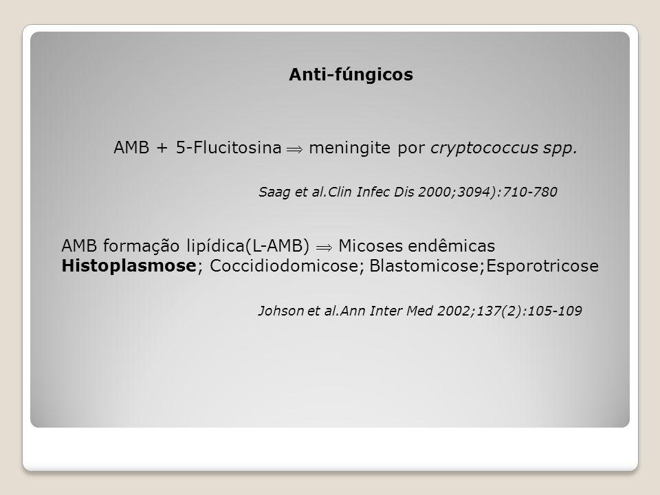 AMB + 5-Flucitosina  meningite por cryptococcus spp.
