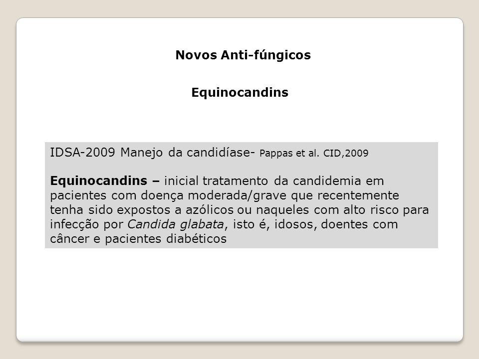 Novos Anti-fúngicos Equinocandins. IDSA-2009 Manejo da candidíase- Pappas et al. CID,2009.