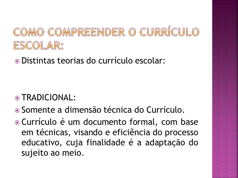 Como compreender o currículo escolar: