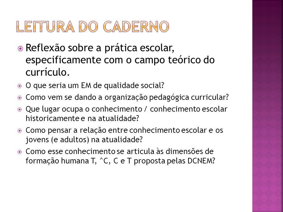 Leitura do caderno Reflexão sobre a prática escolar, especificamente com o campo teórico do currículo.