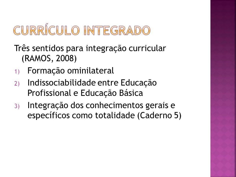 CURRÍCULO INTEGRADO Três sentidos para integração curricular (RAMOS, 2008) Formação ominilateral.