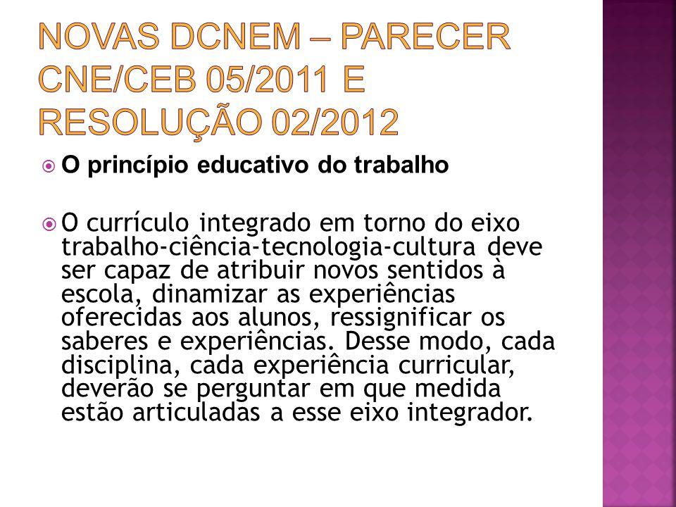 Novas DCNEM – Parecer CNE/CEB 05/2011 e Resolução 02/2012
