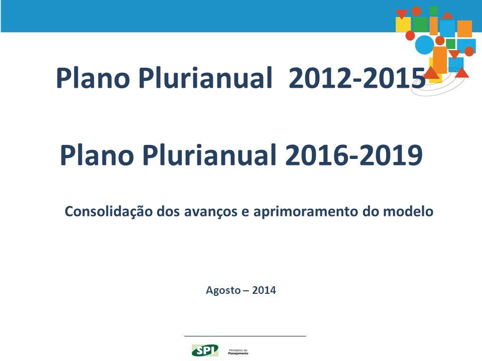 Plano Plurianual 2012-2015 Plano Plurianual 2016-2019