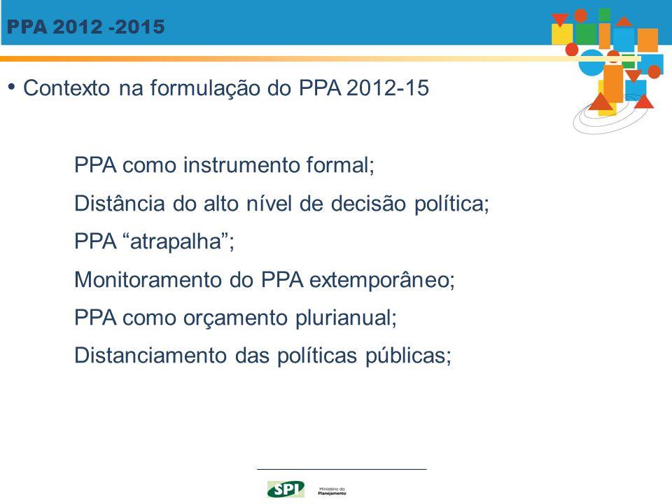 Contexto na formulação do PPA 2012-15