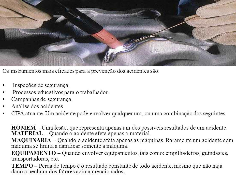 Os instrumentos mais eficazes para a prevenção dos acidentes são: