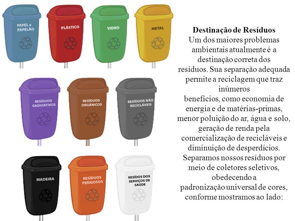 Destinação de Resíduos Um dos maiores problemas ambientais atualmente é a destinação correta dos resíduos.