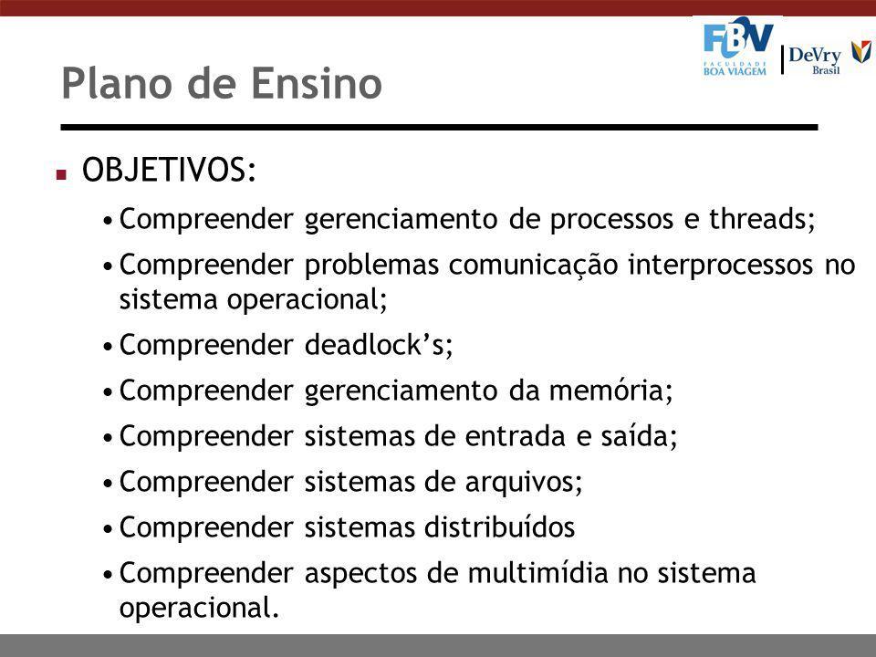 Plano de Ensino OBJETIVOS: