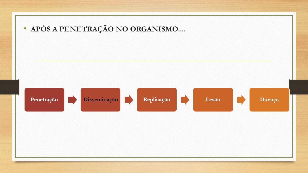 APÓS A PENETRAÇÃO NO ORGANISMO....