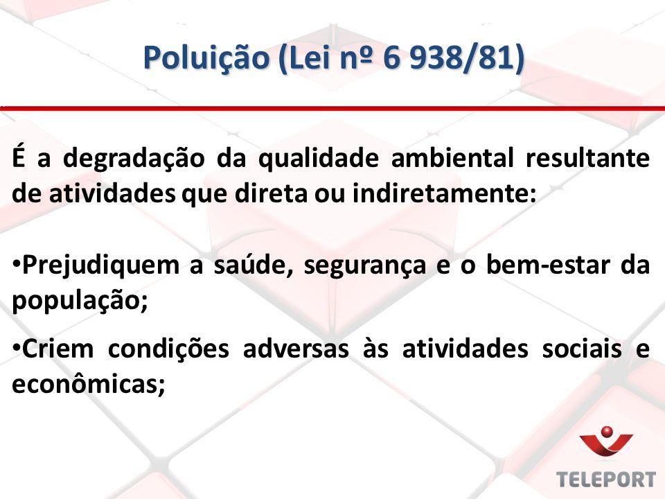 Poluição (Lei nº 6 938/81) É a degradação da qualidade ambiental resultante de atividades que direta ou indiretamente: