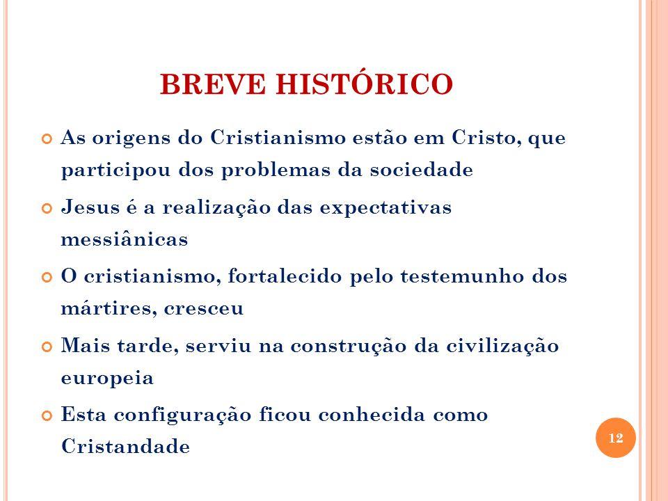 BREVE HISTÓRICO As origens do Cristianismo estão em Cristo, que participou dos problemas da sociedade.