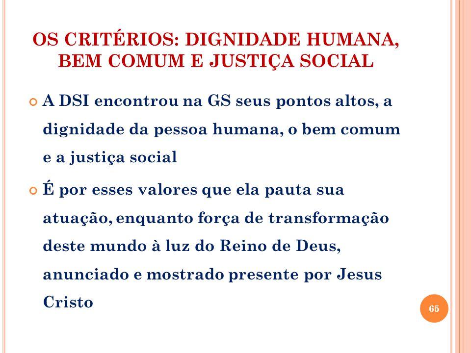 OS CRITÉRIOS: DIGNIDADE HUMANA, BEM COMUM E JUSTIÇA SOCIAL