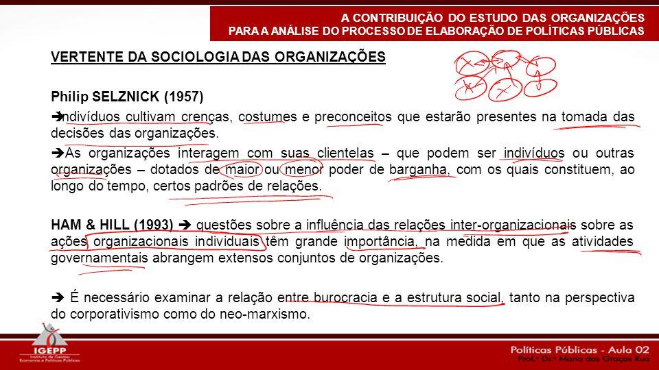 VERTENTE DA SOCIOLOGIA DAS ORGANIZAÇÕES Philip SELZNICK (1957)