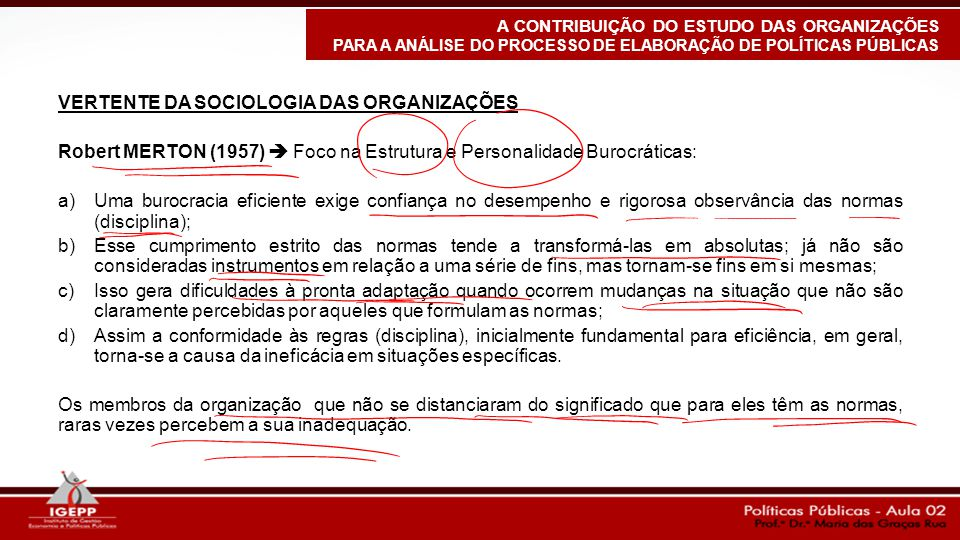 VERTENTE DA SOCIOLOGIA DAS ORGANIZAÇÕES