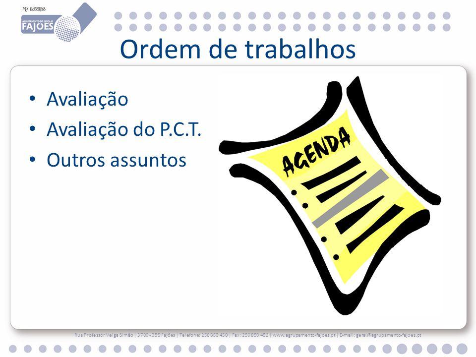 Ordem de trabalhos Avaliação Avaliação do P.C.T. Outros assuntos