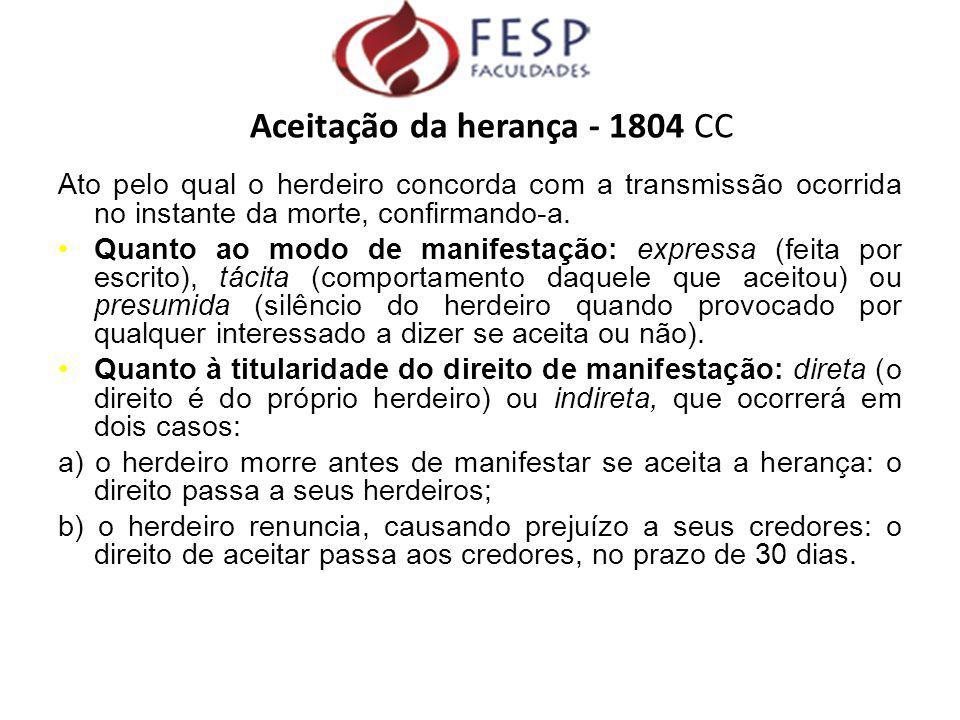 Aceitação da herança - 1804 CC