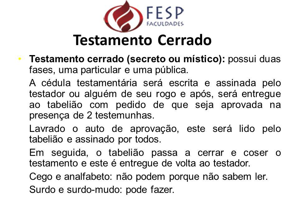 Testamento Cerrado Testamento cerrado (secreto ou místico): possui duas fases, uma particular e uma pública.