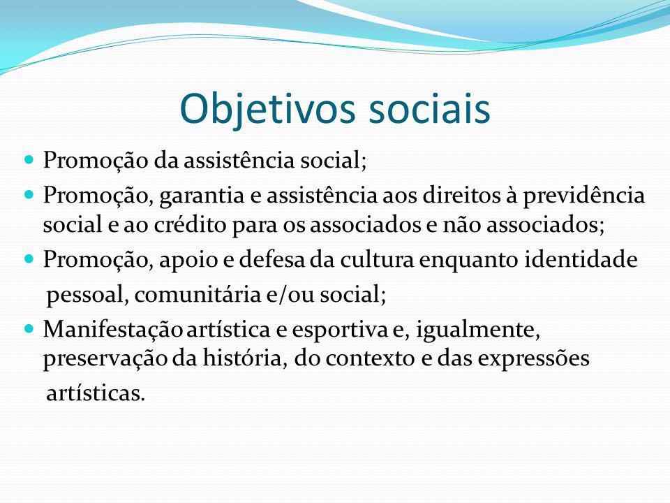 Objetivos sociais Promoção da assistência social;