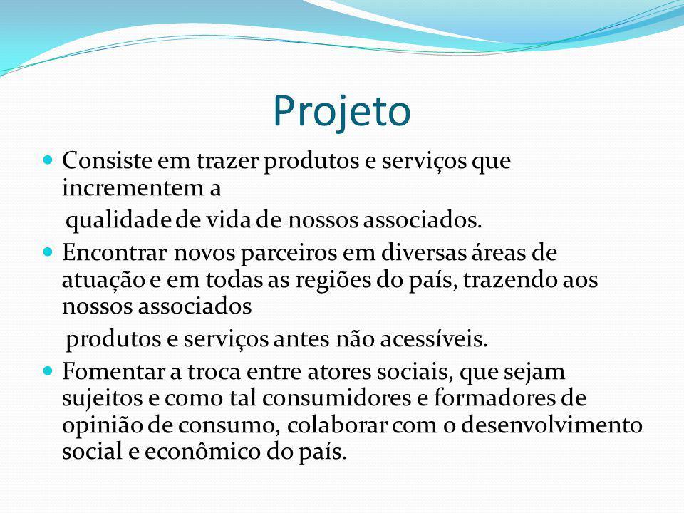 Projeto Consiste em trazer produtos e serviços que incrementem a